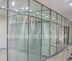 高隔断厂加工百叶玻璃高隔断定制酒店铝合金隔墙 尺寸定制