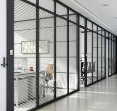 定制铝高隔断墙中空钢化玻璃高隔断办公室隔音隔断墙 规格定制