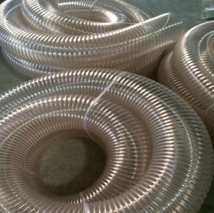 PU透明钢丝软管 聚氨酯风管 木工吸尘排风管 耐磨伸缩软管150mm