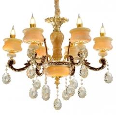 时尚欧式蜡烛水晶等客厅锌合金吊灯别墅酒店餐厅玉石灯具