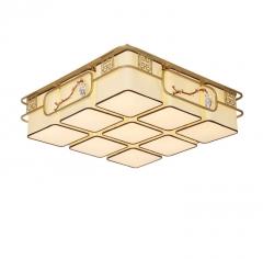 新中式吸顶灯布艺灯土豪金陶瓷彩绘灯饰