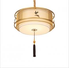 厂家直销圆形布艺新中式吸顶灯卧室书房陶瓷彩绘铜色吊灯