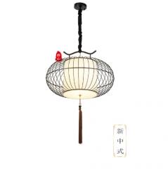 中国风静心灯饰笼子新中式鸟笼过道茶楼酒店工程禅意复古吊灯 金+白300