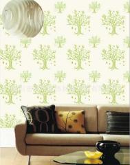 中国风墙布印花无缝墙沙井典雅花型温馨田园卧室客厅背景墙布施工