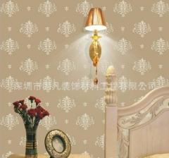 欧式印花客厅电视背景墙壁纸福永简约现代百合花卧室3d墙贴施工