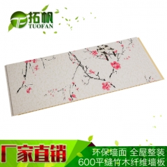 厂家热销竹木纤维板 集成墙板 600无缝集成墙面 竹木纤维护墙板 PVC板0.8厚