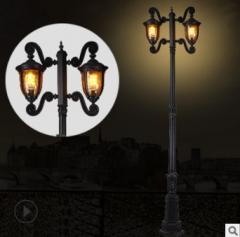 欧式庭院灯 户外压铸铝庭院灯家用小路灯双头景区园林小区景观灯 osy1020