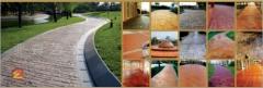 彩色水泥地 专业施工指导设计定制公园马路彩色水泥地面工程承包