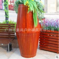 腰鼓花箱 户外实木制作花箱 花园小区景观工程专用 700*700*1400 1