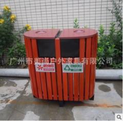 市政工程绿化垃圾桶 街道果皮箱 钢架+木结构 800*400*900 1