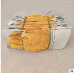 小平口牛皮电焊手套二层皮短电焊耐磨防滑防护手套电焊工专用皮手 黄色 均码