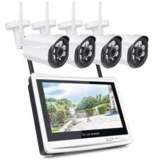 高清带屏监控摄像机套装 NVR 网络摄像机 无线摄像头 硬盘录像机 4路720P(4个枪机)