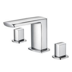 伟祥卫浴厂家直销三孔式方形面盆水龙头 全铜冷热双控分体式 2020034CP