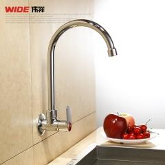 源头厂家贴牌定制厨房洗碗池挂墙式单冷水龙头 全铜弯管可旋转 107C10003CP
