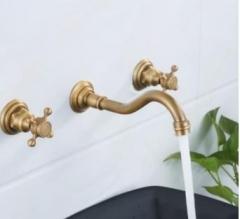 厂家批发直销水暖五金欧式入墙仿古三孔三件套分离式面盆水龙头