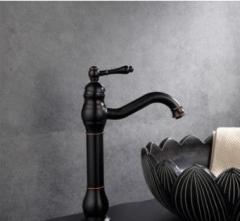 家装建材水暖五金销售批发欧式黑古电镀拉丝全铜厨房面盆水龙头