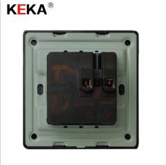 86型黑色拉丝复古开关插座面板 七孔插座 多功能五孔电源插座 86型