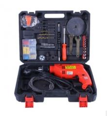 冲击钻电动工具套装组合五金工具箱批发 6133冲击钻套装+钻头标配