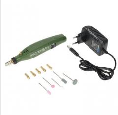 限时特价跨境小型电磨玉石雕刻机电磨套装微型迷你电钻抛光工具 两圆插 标配
