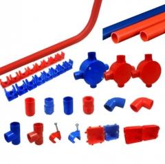 PVC水管接头20红色加长直接UPVC材质塑料直通 两通二通 直接头