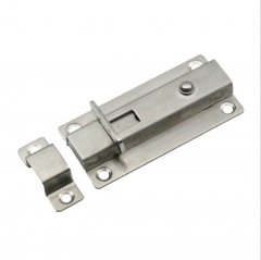 厂价不锈钢房门自动插销按钮明装弹簧防盗卫生间隔断自动门闩栓 3寸