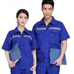 劳保工作服反光防护服夏季短袖工服工厂工衣蓝色工程服厂家订做
