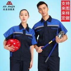 厂家现货 60%棉夏季短袖工装汽修维修工程服套装劳保工服