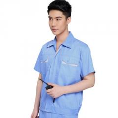 夏季车间工人服装涤棉劳保服套装男工作服短袖工装定制