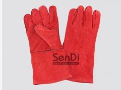 长电焊手套 加长牛皮焊接工隔热耐高温防护手套 二层加里全皮手套