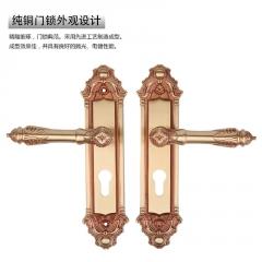 荐 欧式黄古铜执手实木房门锁具 室内卧室房门锁 厂家批发