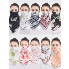 夏季防晒丝巾大口罩女护颈薄款透气面罩全脸遮阳防紫外线雪纺面纱