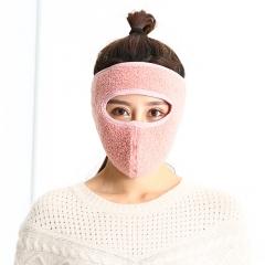新款冬季保暖口罩全脸男女士护耳口罩魔术贴毛绒二合一口罩批发