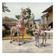 厂家卡通公园动物玻璃钢雕塑 装饰兔彩绘鹿商业街玻璃钢摆件