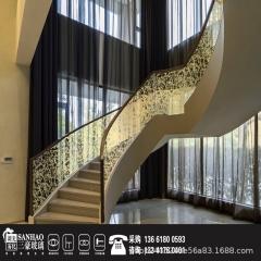 楼梯扶手夹丝玻璃 艺术玻璃 夹娟玻璃