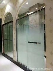 淋浴房渐变安全玻璃 酒店隔断雾化玻璃 办公隔断渐变玻璃 夹丝玻
