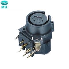 耐高温XLR连接器 SPC-03A  90度带锁卡侬插座  组合卡侬母座