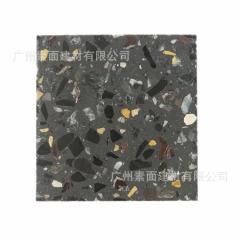 泉州工厂直销 环保多变人造水磨石砖 预制无机水磨石荒料  黑色