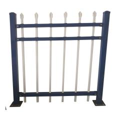 现货厂区隔离锌钢防护栏铁艺围墙栏杆蓝白色方管焊接隔离网围栏厂