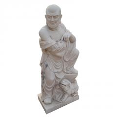 厂家直供汉白玉石雕十八罗汉 大理石雕刻佛像护法寺庙工艺品摆件
