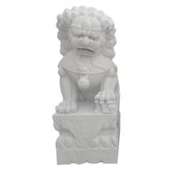 厂家直销汉白玉石雕狮子雕塑 广场酒店门口招财石狮子装饰摆件