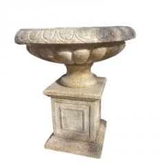 厂家直供石雕花盆花钵 黄锈石欧式仿古鱼缸 大理石园林艺术摆件