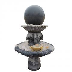 厂家直销晚霞红石雕喷泉雕塑 广场流水风水球摆件一件代发