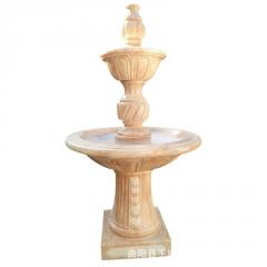 厂家直销石雕喷泉汉白玉流水装饰双层风水球喷泉园林广场喷泉景观