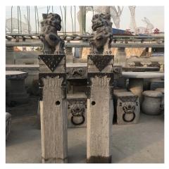 曲阳石雕青石做旧拴马桩仿古酒店庭院装饰拴马桩雕塑石柱摆件