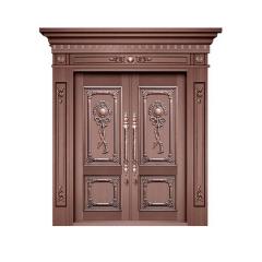不锈钢镀铜双四开子母门 定制纯铜别墅大门 铜门 不锈钢仿铜门