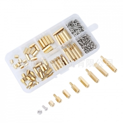 180pcs M2.5单通双通六角铜柱配螺丝螺母 外贸螺丝组合套装盒装