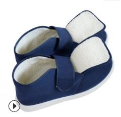 PVC蓝色帆布羊羔绒高帮棉鞋防静电冬季保暖棉鞋帆布厚底无尘鞋
