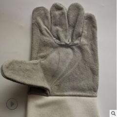 食指加条牛皮电焊手套 隔热焊工劳保手套 工厂电焊工用牛皮手套