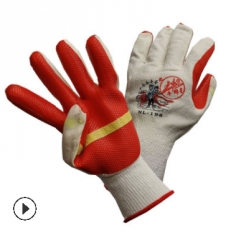 正品牛郎星胶片手套 加厚橡胶劳保防护手套 防滑耐磨涂胶胶皮手套