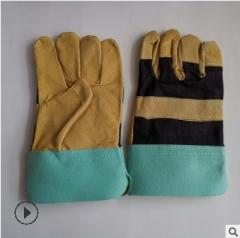 销售电焊短皮手套 加厚猪皮焊工手套 耐磨耐用花皮手套 劳保用品